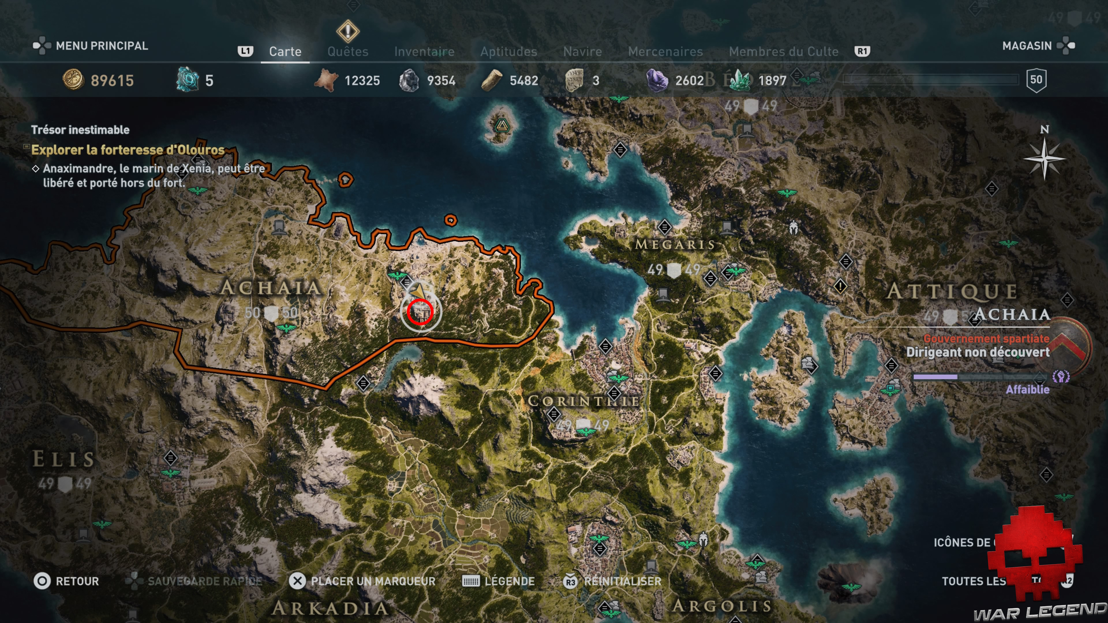 Guide assassin's creed odyssey emplacement forteresse d'olouros global