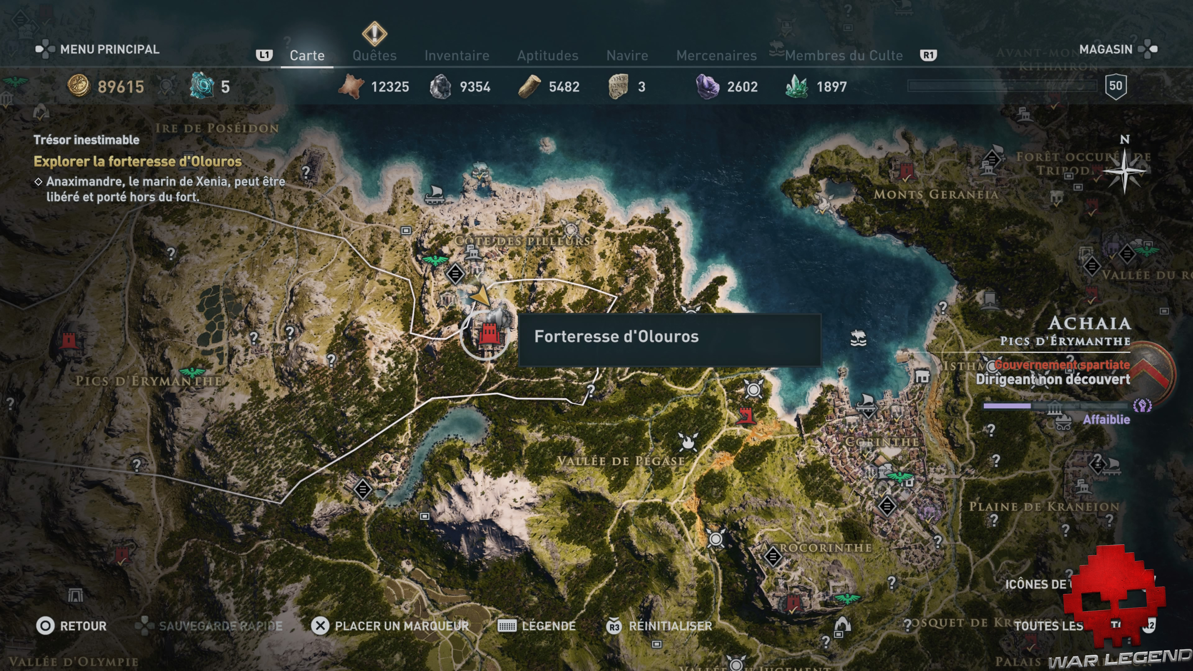 Guide assassin's creed odyssey emplacement forteresse d'olouros