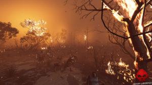 Test Assassin's Creed Odyssey - Scène de bataille incendiée