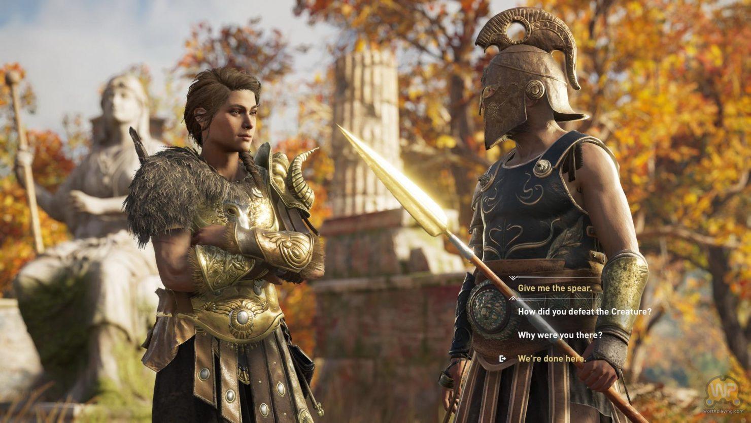 Assassin's Creed Odyssey Kassandra face à un soldat, phase de dialogue