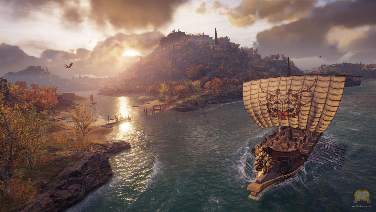 Assassin's Creed Odyssey bateau naviguant devant deux îles