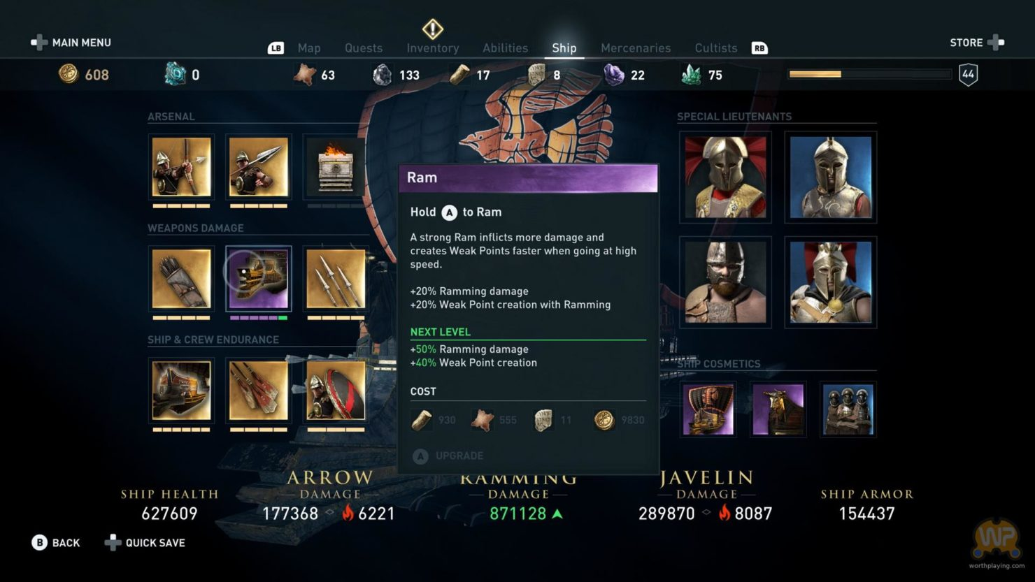 Assassin's Creed Odyssey inventaire personnage avec description objet