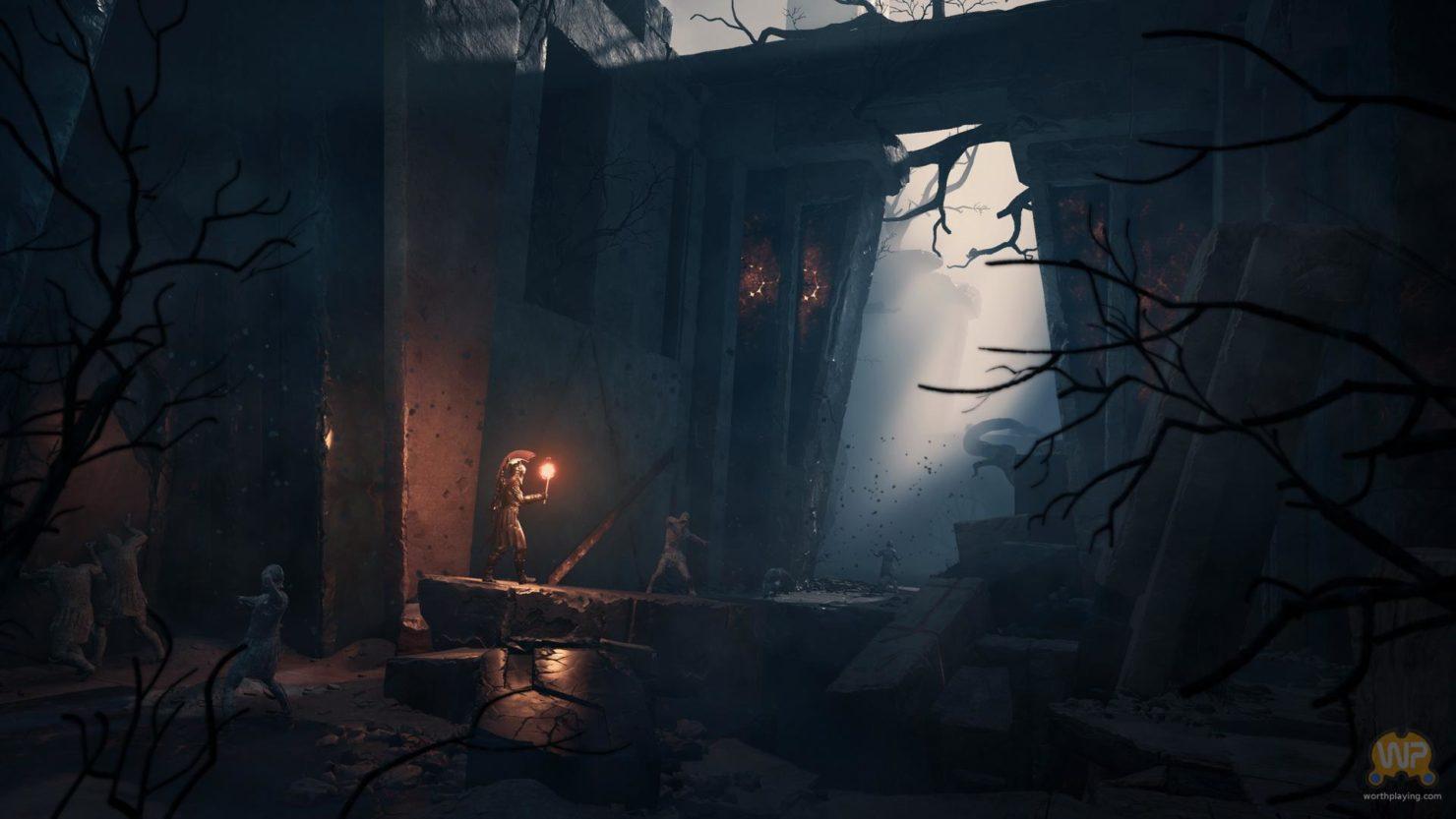 Assassin's Creed Odyssey édifice dans la pénombre, trouée de lumière par une ouverture au centre