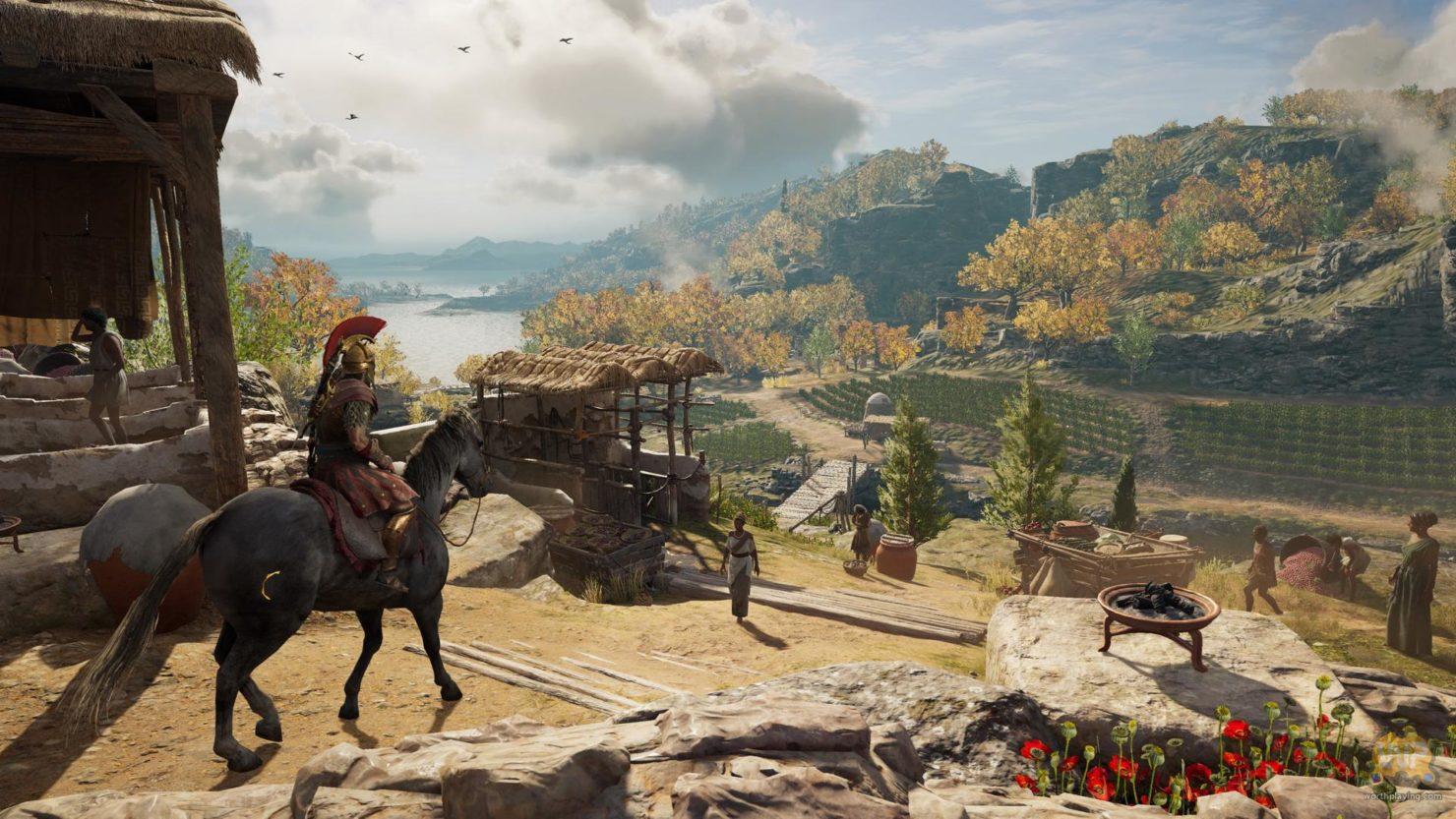 Assassin's Creed Odyssey Alexios à cheval devant vignes vertes