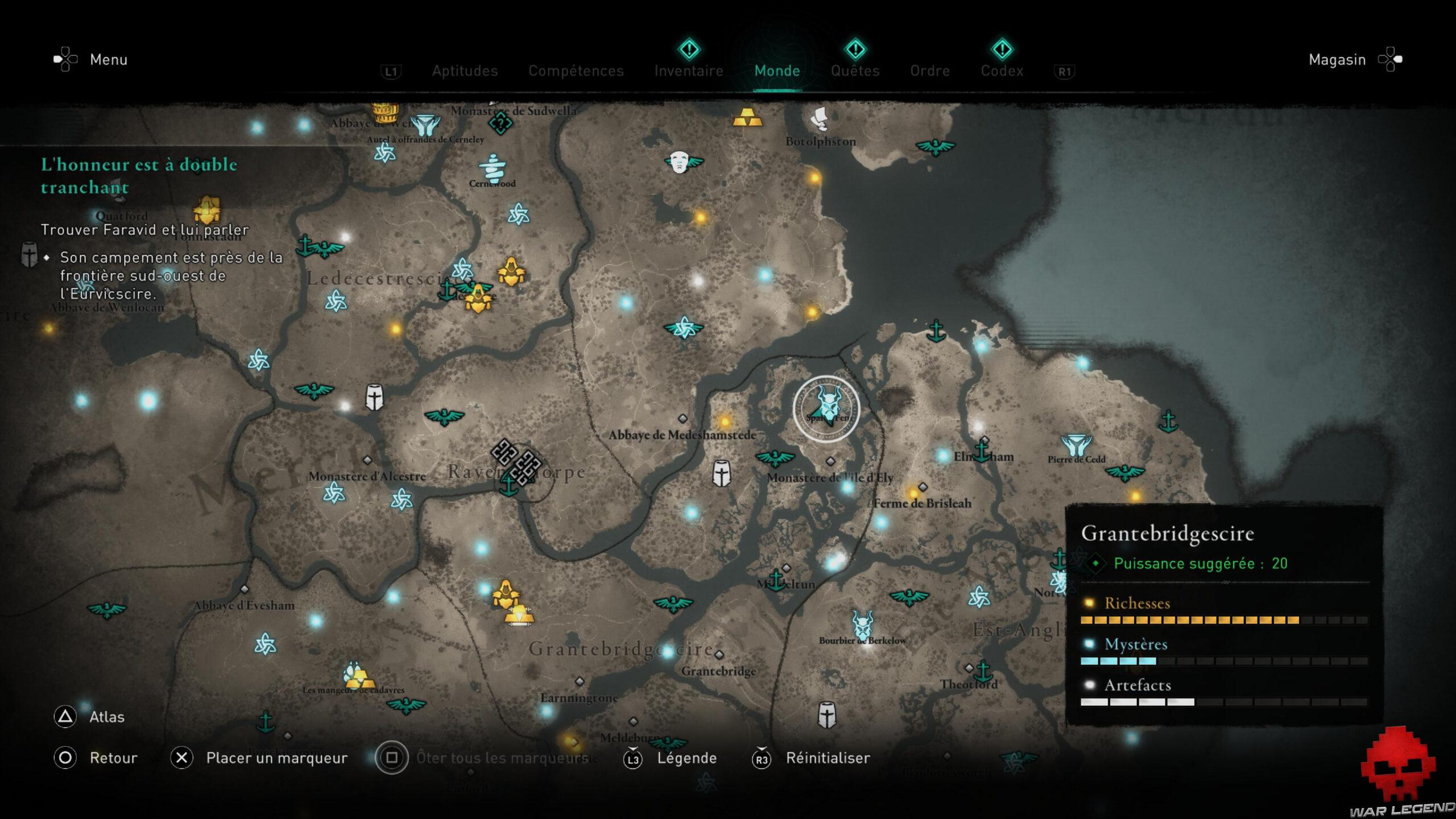 Carte Grantebridgescire Assassin's Creed Valhalla