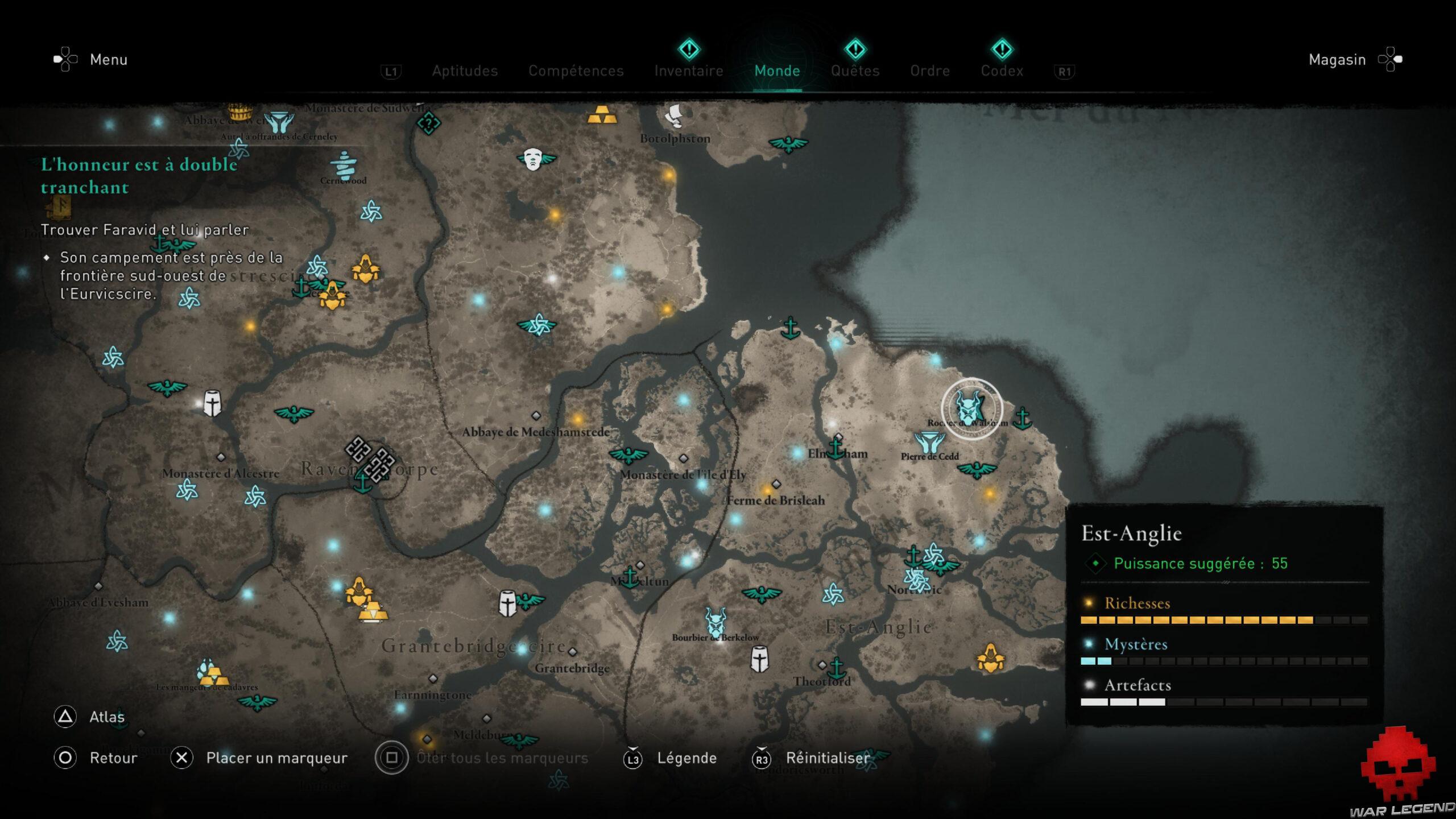 Carte Est-Anglie Assassin's Creed Valhalla