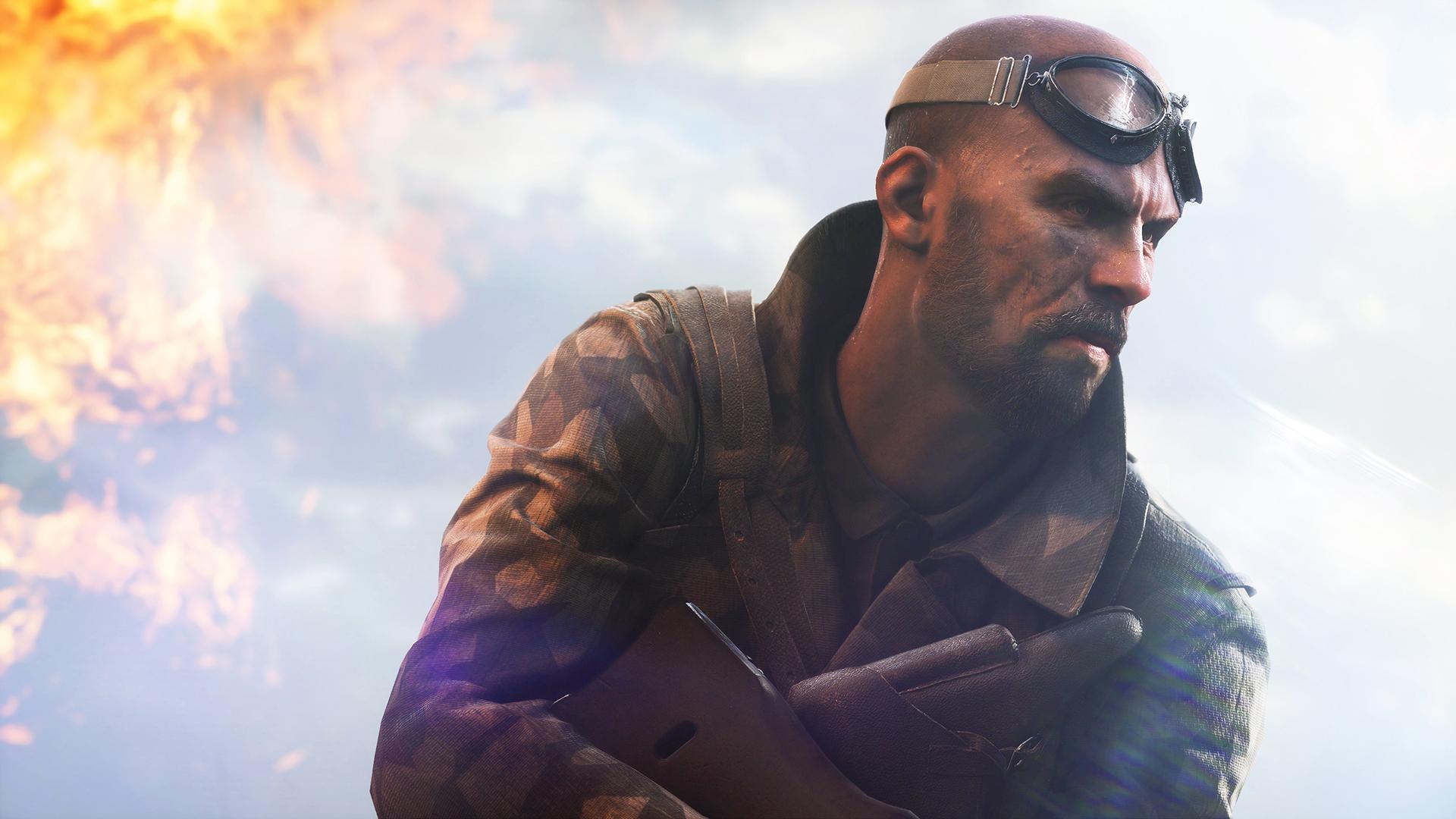 Battlefield V - Un soldat à lunettes d'aviateur