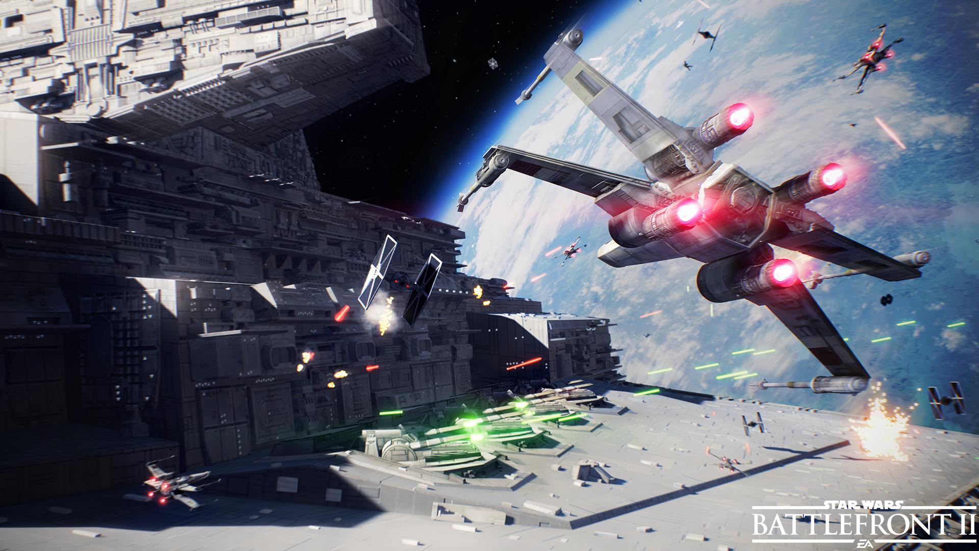 x-wing fonçant sur un destroyer