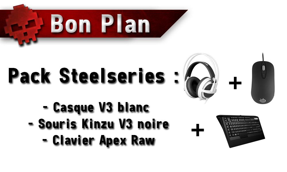 Bon Plan - Pack Steelseries : Casque V3 blanc + Souris Kinzu V3 noire + Clavier Apex Raw