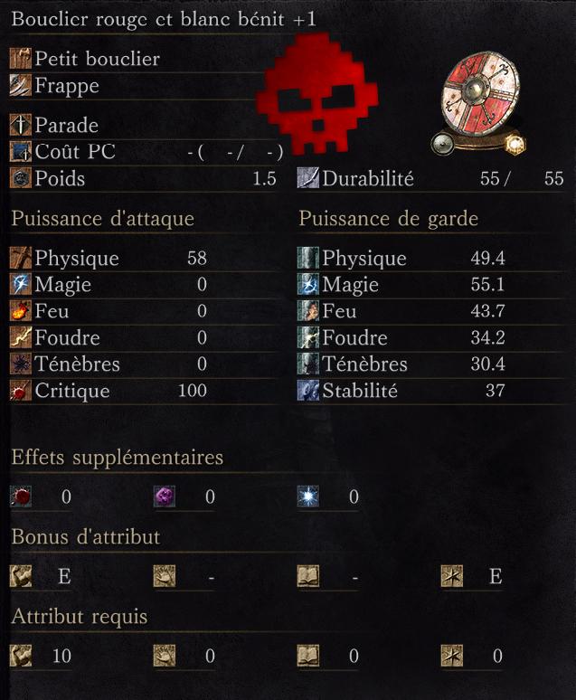 Bouclier Rouge et Blanc Bénit +1
