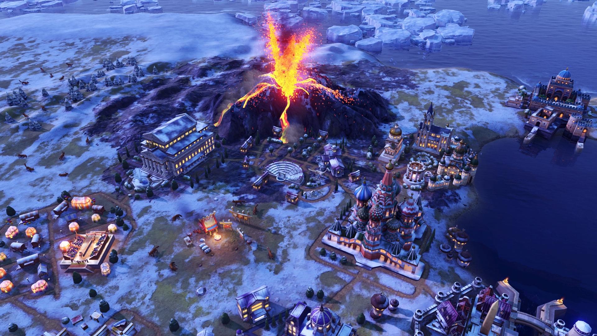 screenshot d'un volcan de Civilization 6: The Gathering Storm