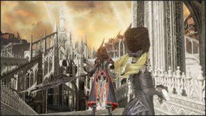 Mia et le personnage féminin inconnu regardant en direction de la Cathédrale