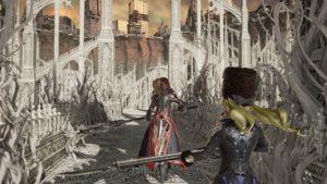 Deux personnages, dont Mia avançant à l'extérieur de la Cathédrale