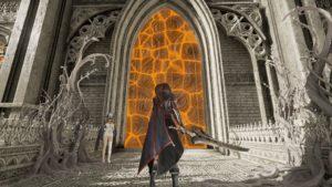 Un des personnages face à l'une des porte de la Cathédrale du Sang Sacré