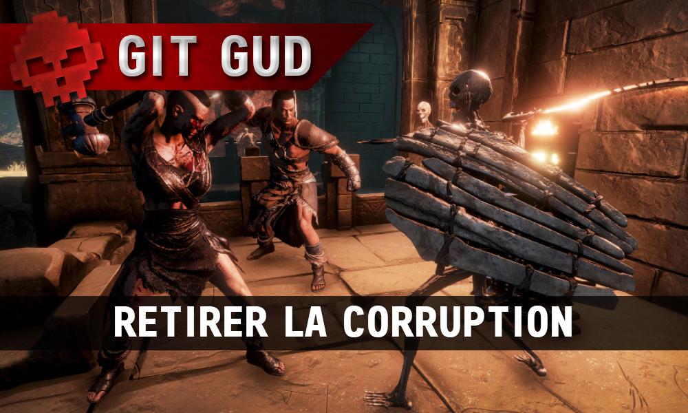 Conan Exiles - Retirer la corruption barbares face à un squelette