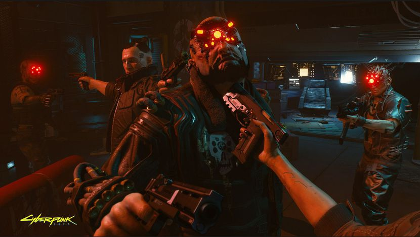 Cyberpunk 2077 pistolet appuyé contre la gorge d'un homme cyborg