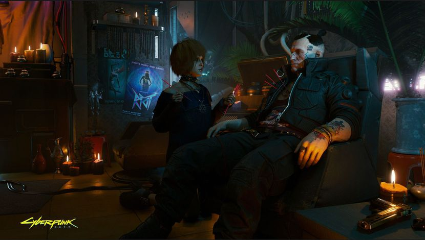 Cyberpunk 2077 homme assis dans un fauteuil, femme agenouillée auprès de lui