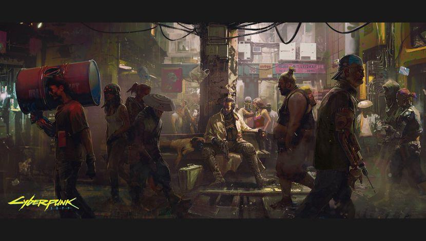 Cyberpunk 2077 Artwork Personnes marchant dans rue bondée
