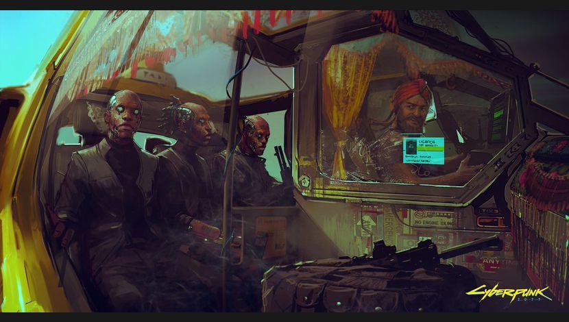 Cyberpunk 2077 Artwork Hommes modifiés cybernétiquement dans véhicule