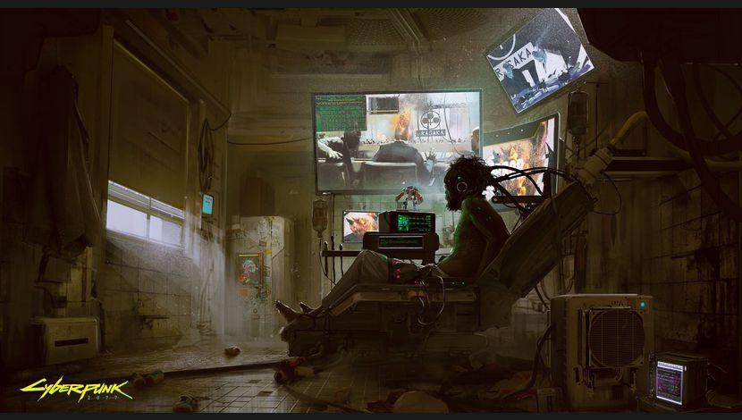 Cyberpunk 2077 Artwork homme dans fauteuil regardant télés, tête reliée au dossier