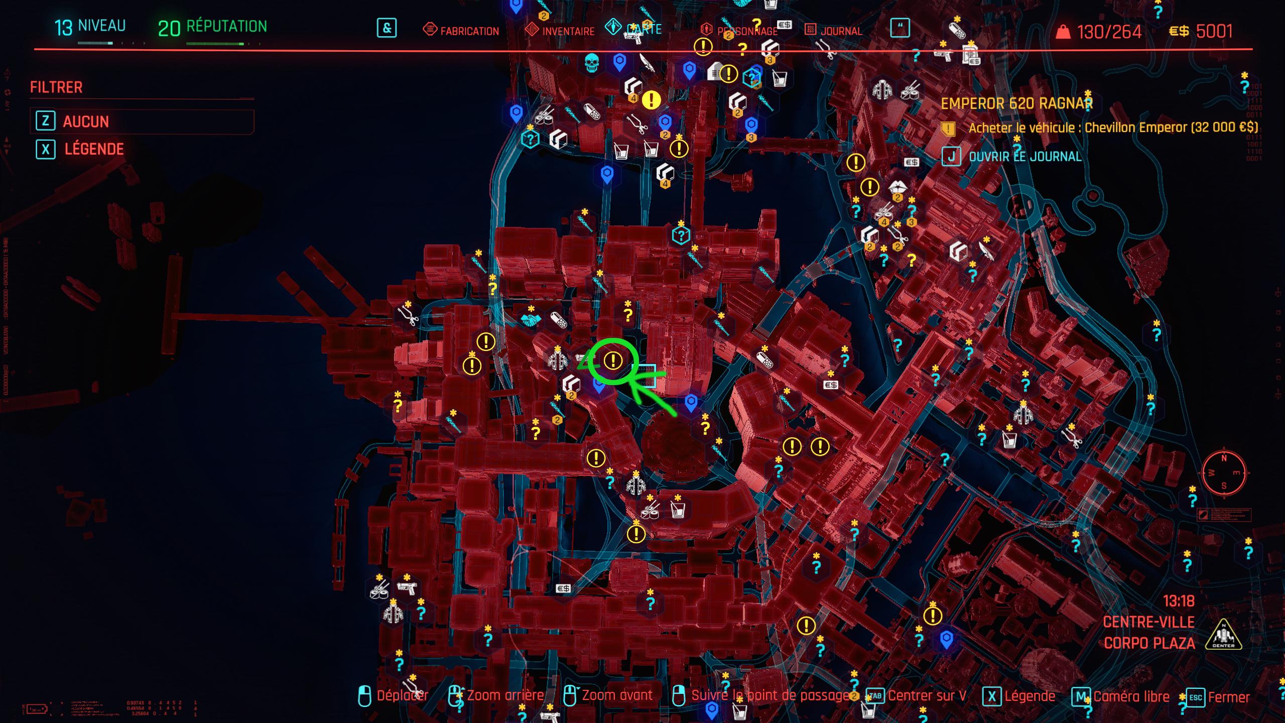 Cyberpunk2077 lames mantis legendaire carte
