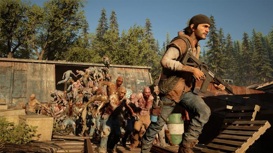 screenshots de Days Gone avec pleins de zombies à la poursuite du héros