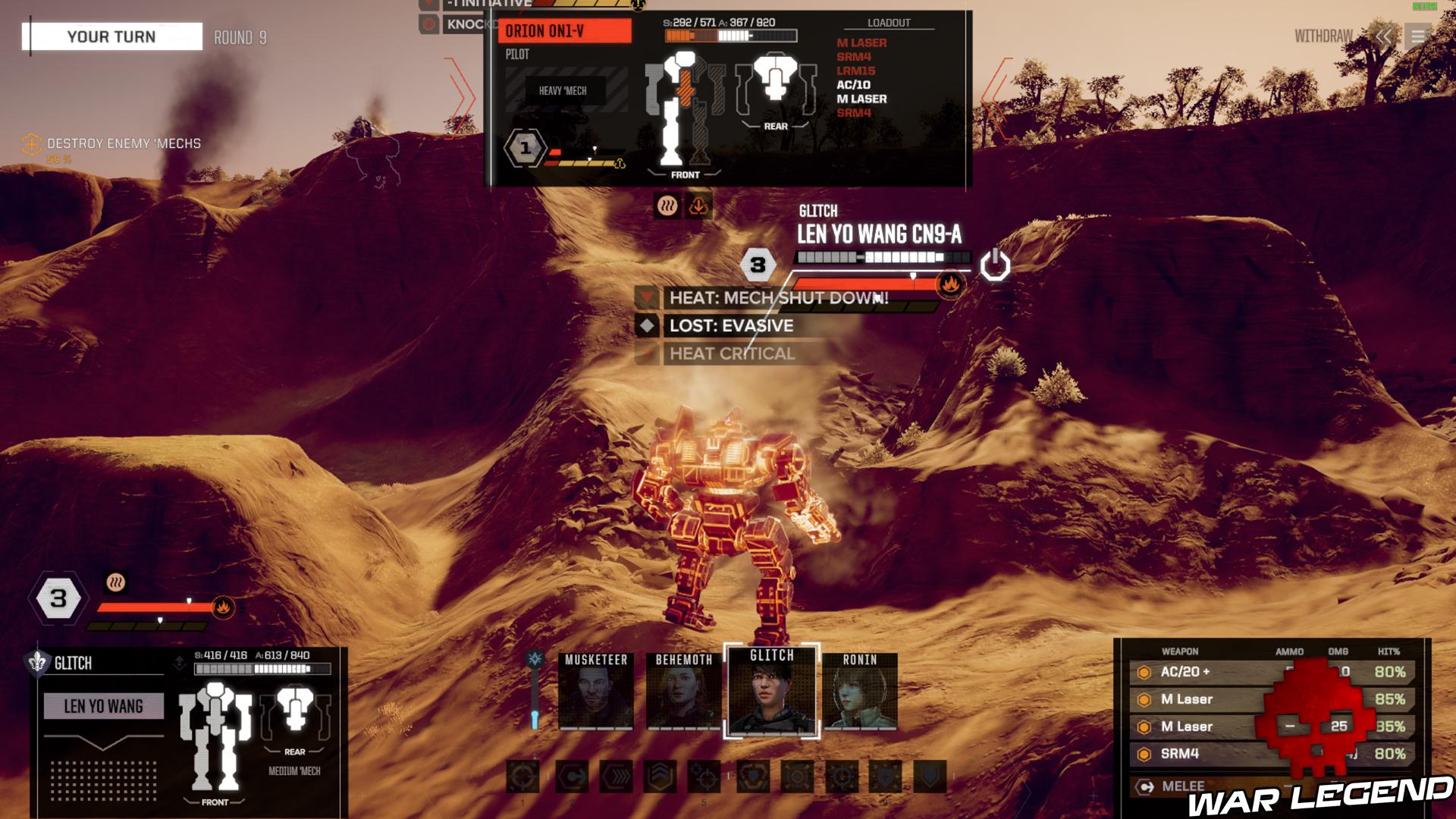 Un BattleMech surchauffe