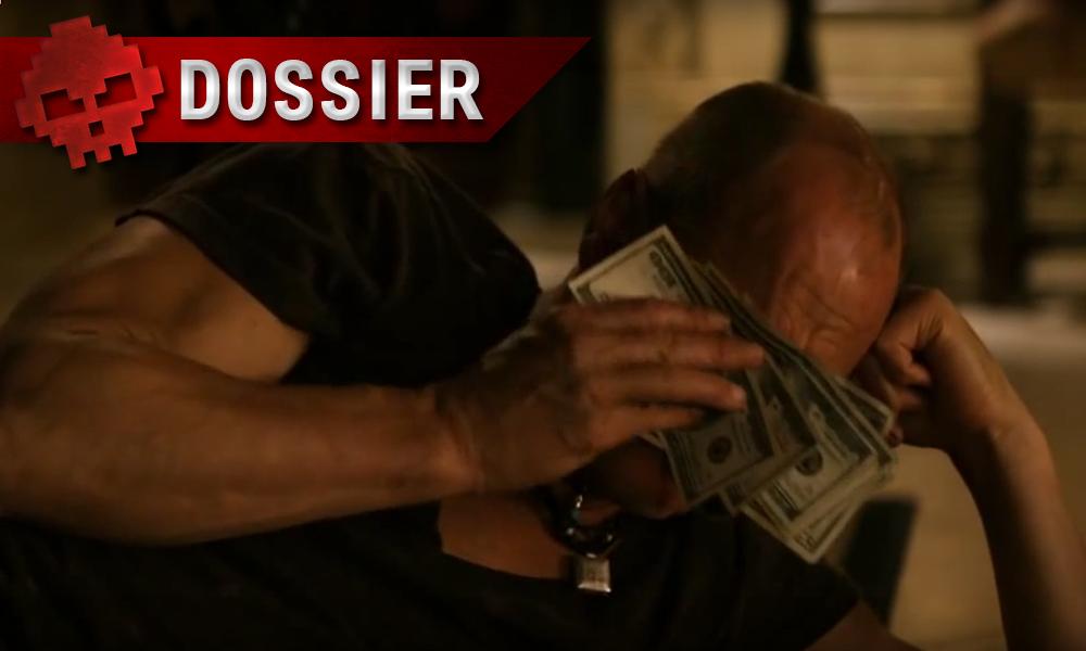 woody harrelson séchant ses larmes dans des billets de banque, film zombieland. Bandeau dossier