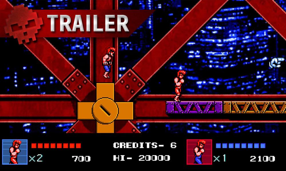 Double Dragon IV - Le nouvel opus trouve sa date de sortie en vidéo - Décor du jeu rétro avec les deux personnages