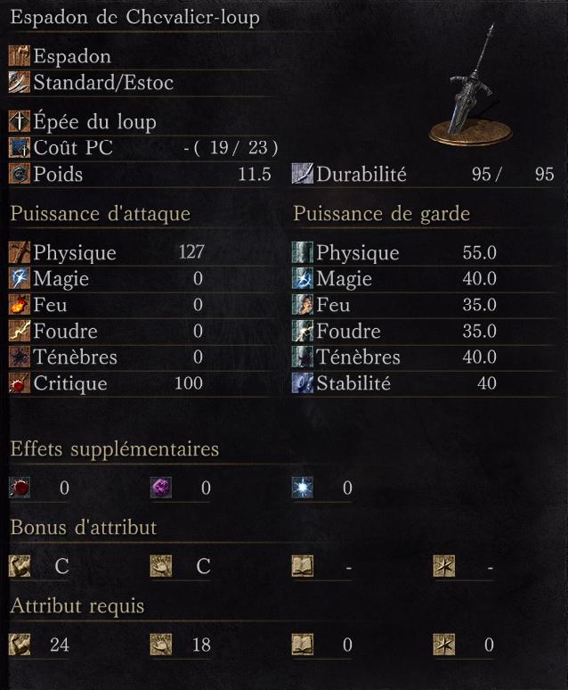 Espadon de Chevalier-Loup