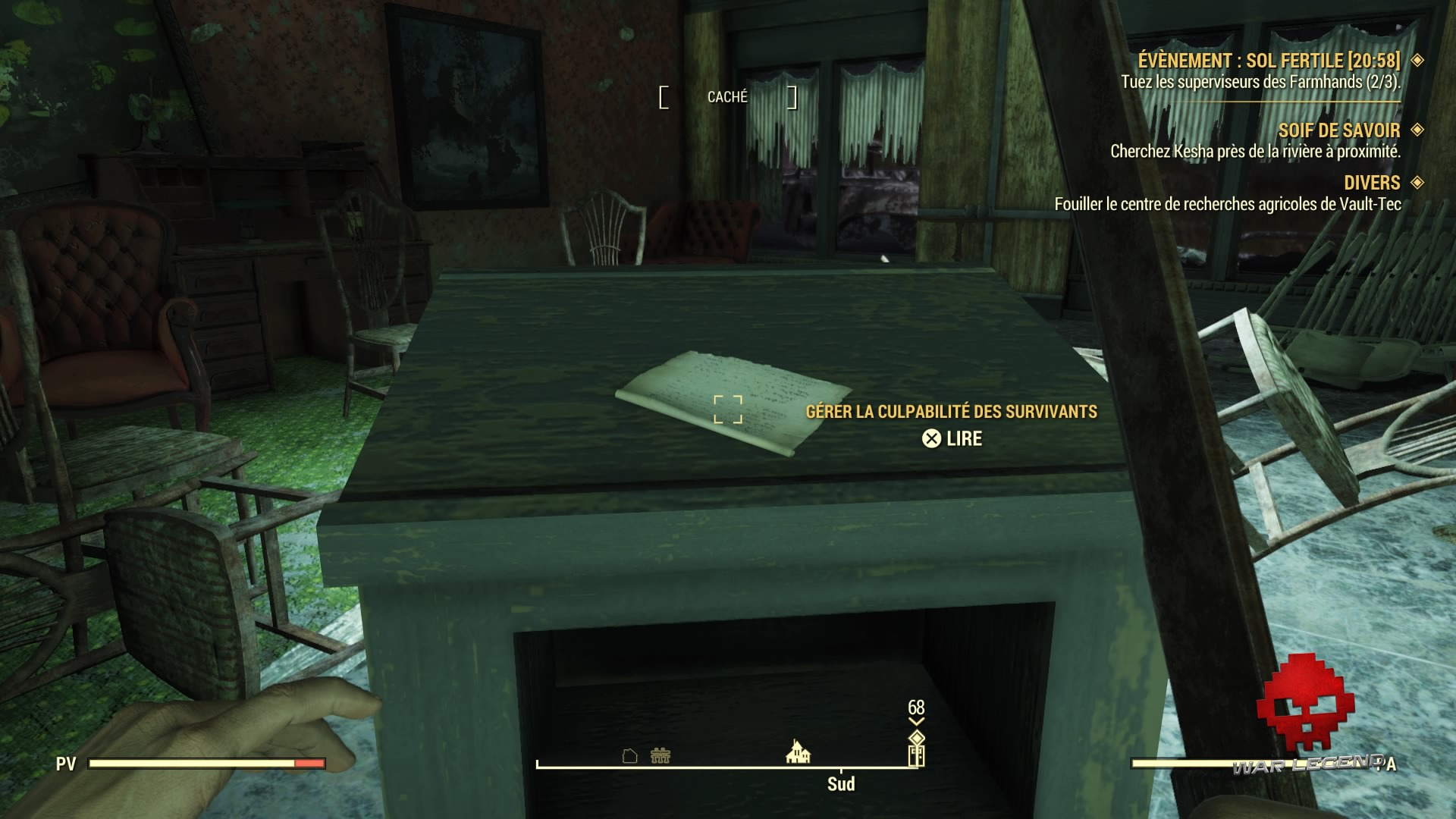Fallout 76 une lettre sur un meuble