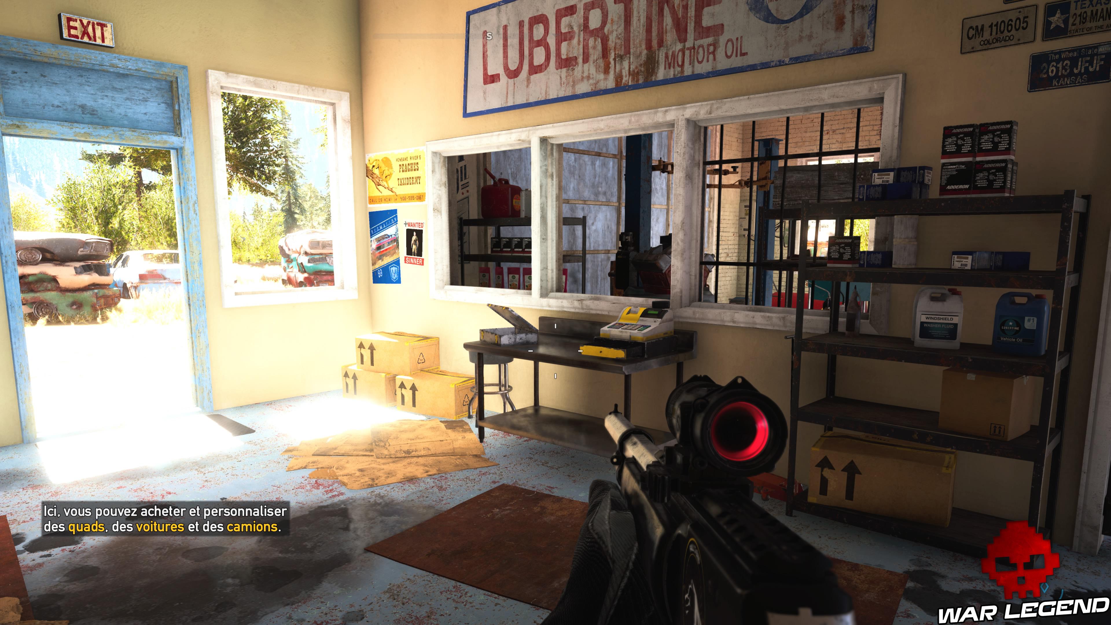 Guide Far Cry 5 - Les caches de survivaliste de la région de Faith (Henbane River) caisse garage