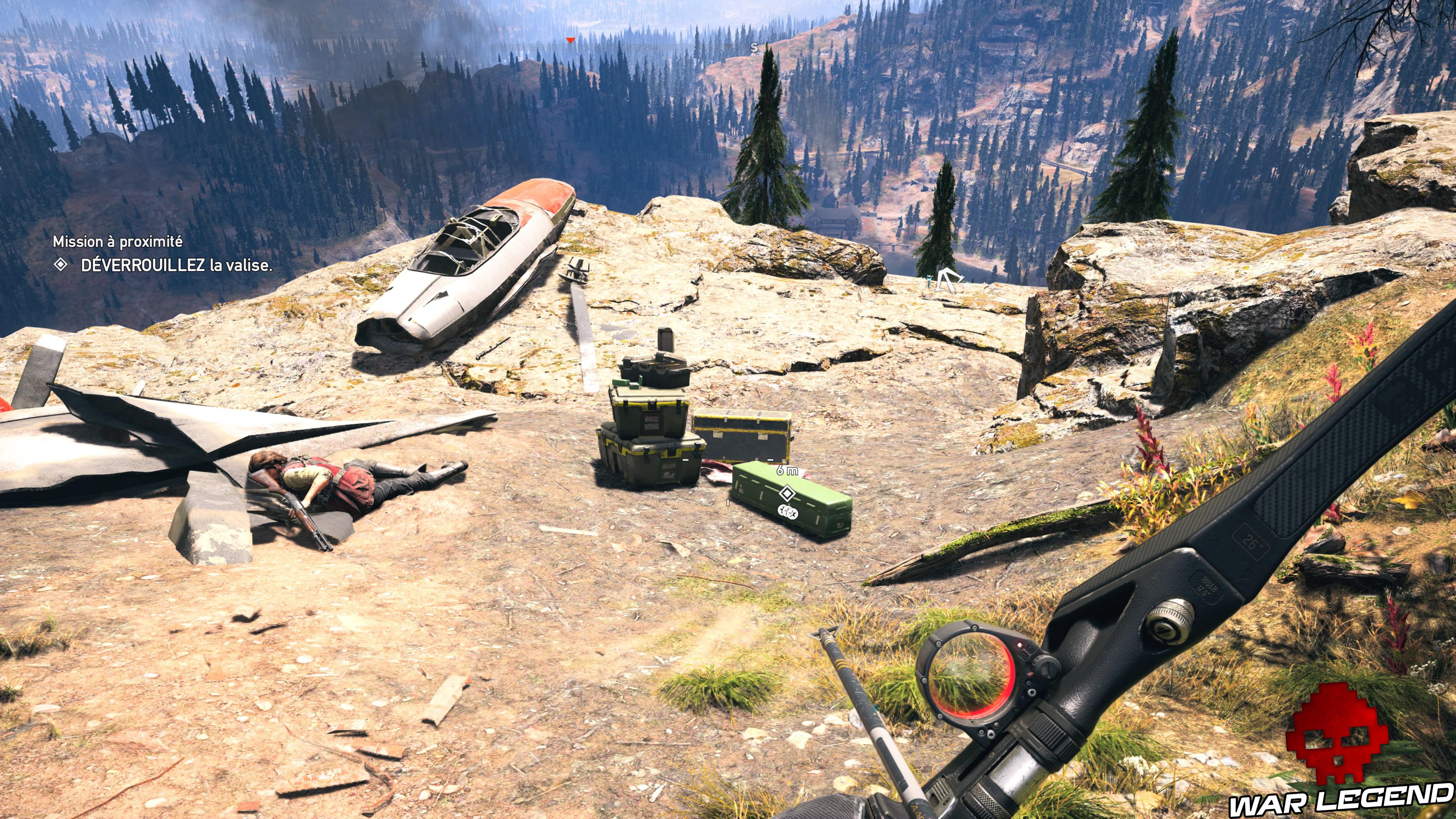 Guide Far Cry 5 - Les caches de survivaliste de la région de Jacob (Whitetail Mountains) crash avion