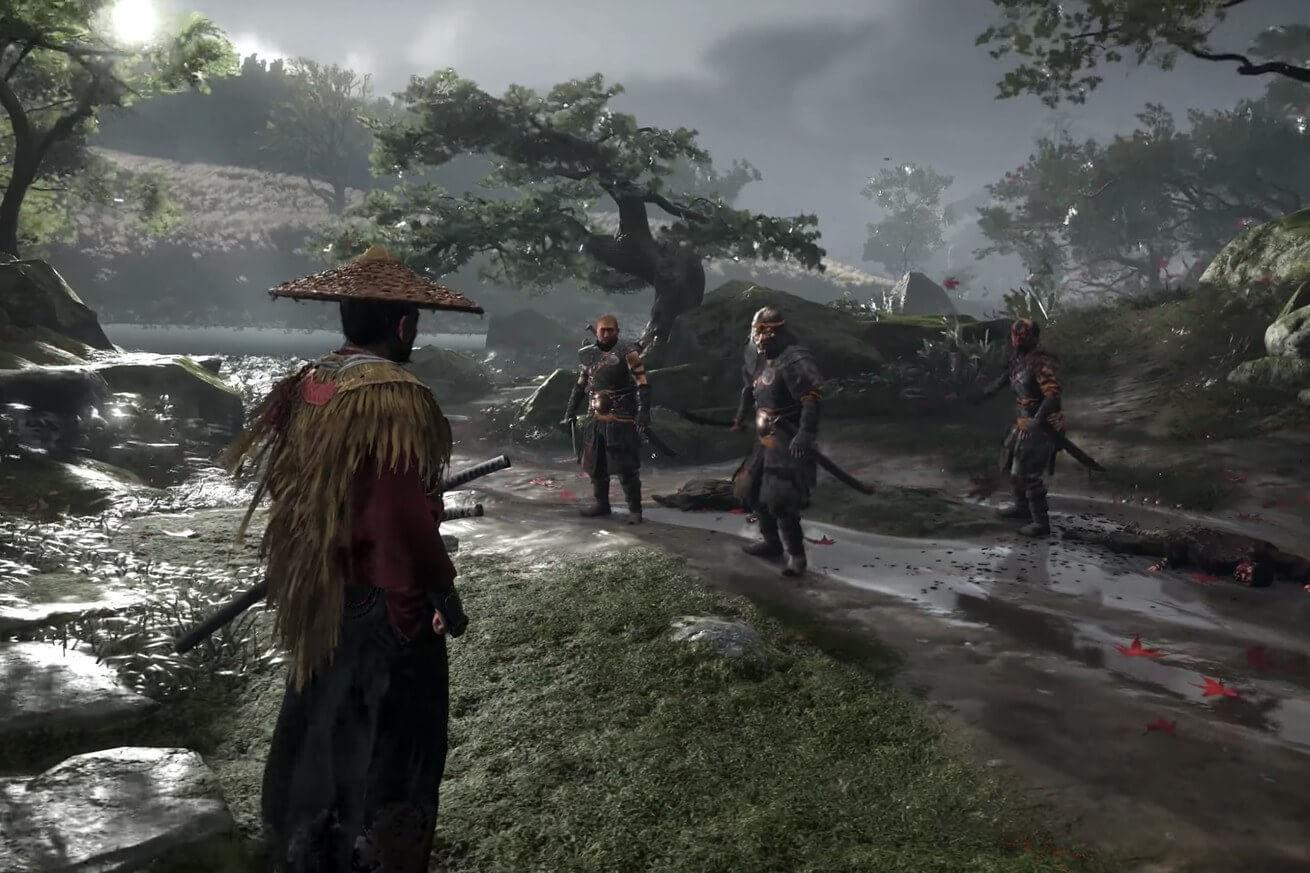 Ghost of Tsushima Jin face à trois mongoles