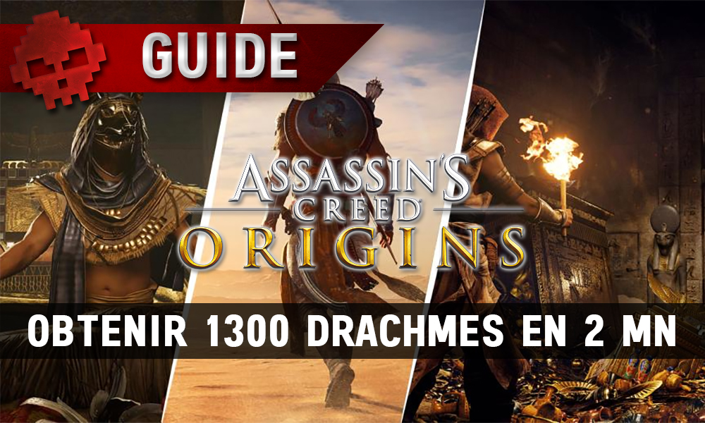 trio d'artworks assassin's creed origins mettant en scène bayek + logo du jeu Assassin's Creed Origins et bandeau guide