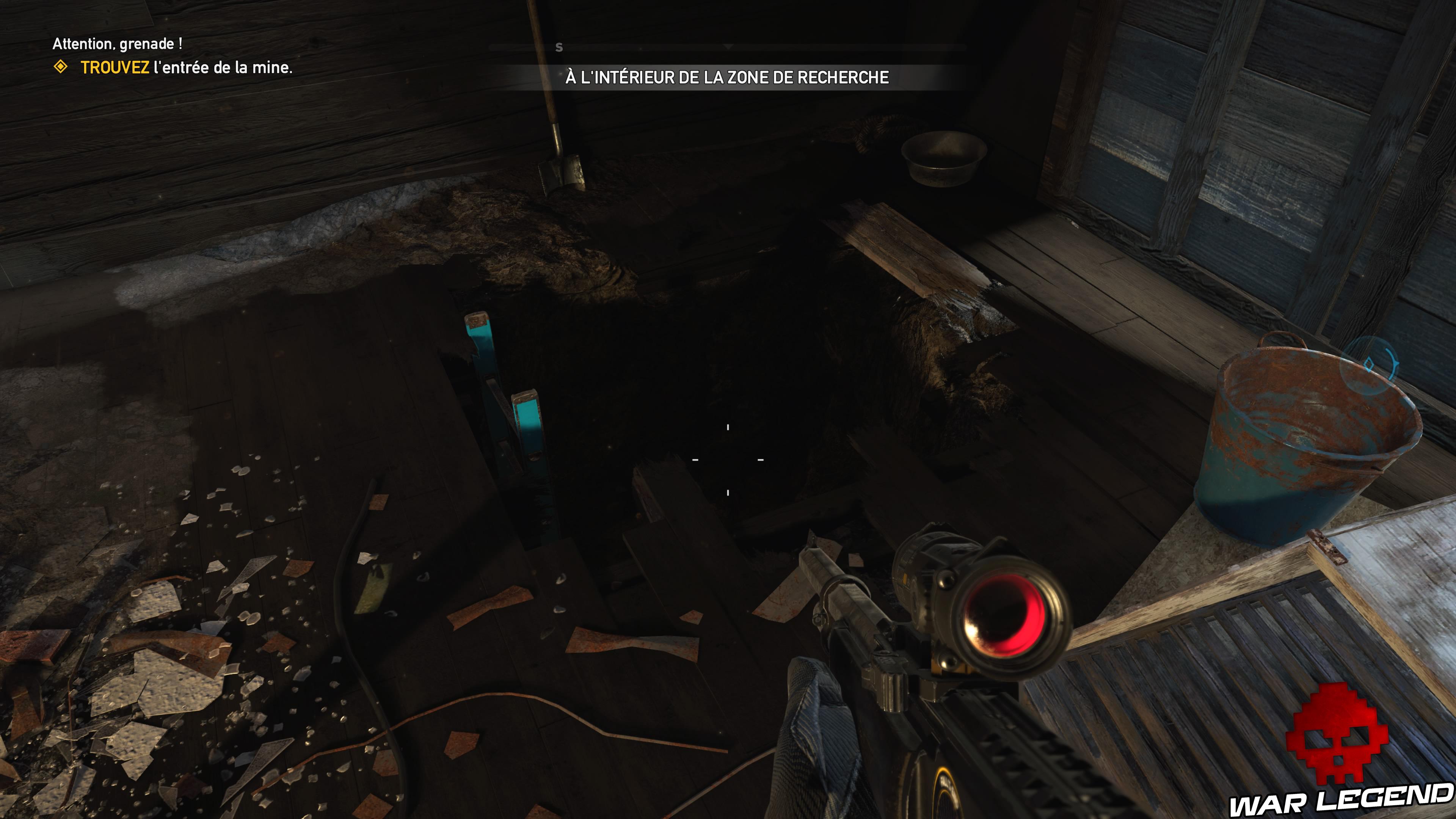 Guide Far Cry 5 caches survivalistes région de John échelle sous-sol