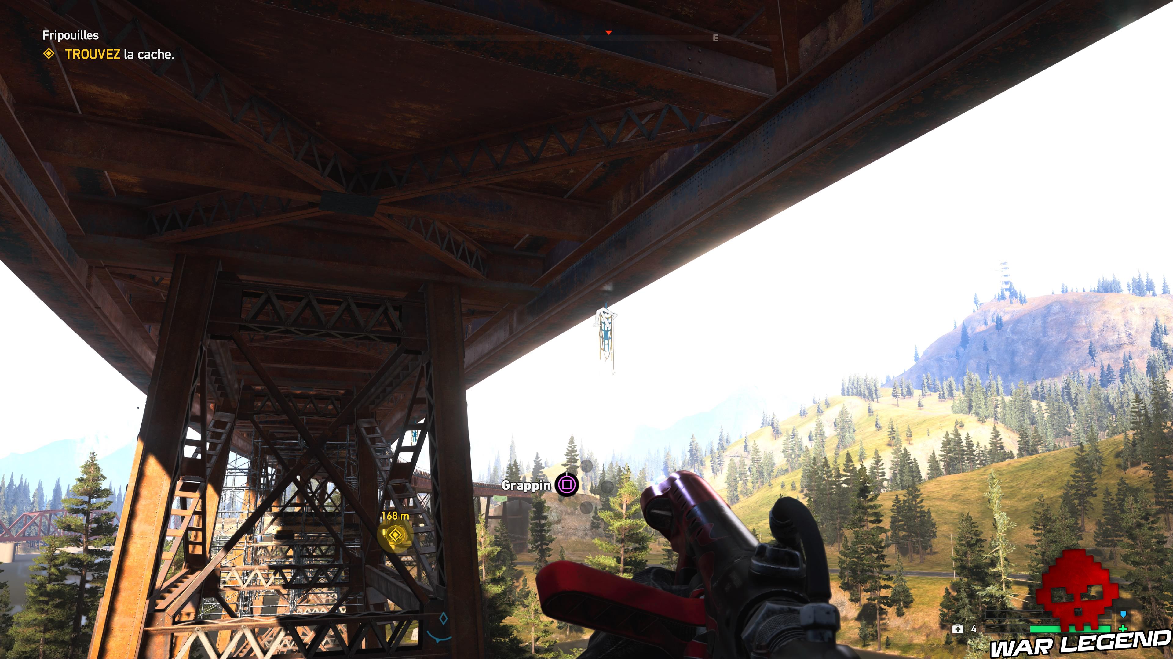 Guide Far Cry 5 caches survivalistes région de John grappin sous le pont