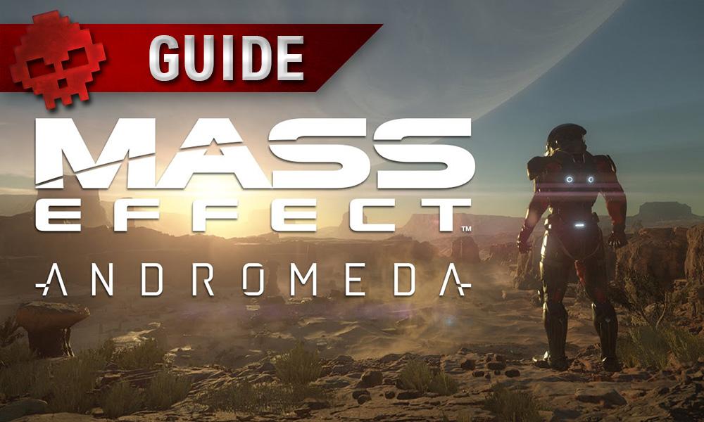 Mass Effect: Andromeda - Apprenez tous les secrets du jeu avec nos guides Logo et personnage regardant l'horizon