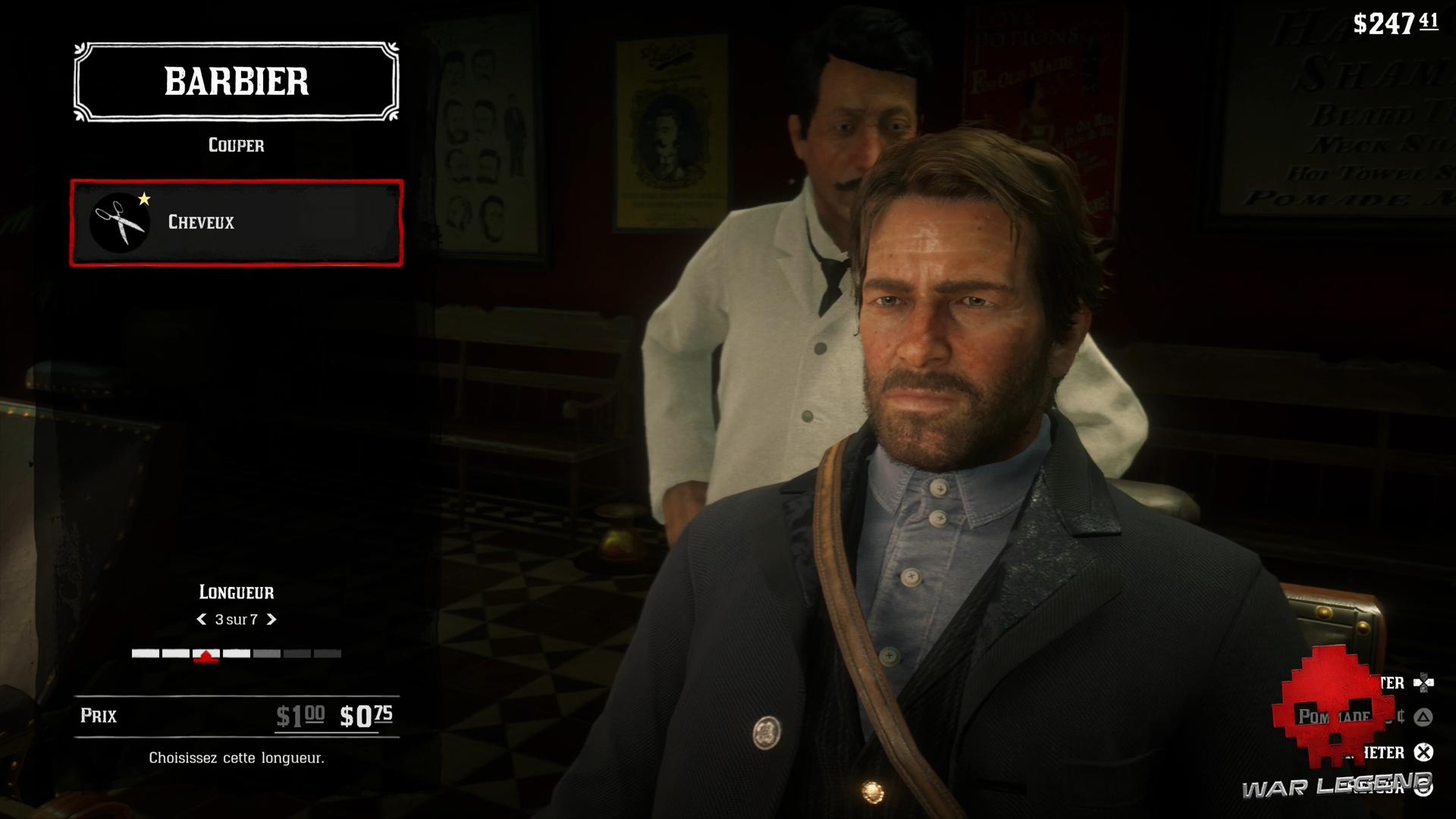 Guide Red Dead Redemption 2 L'hygiène Arthur se fait couper les cheveux