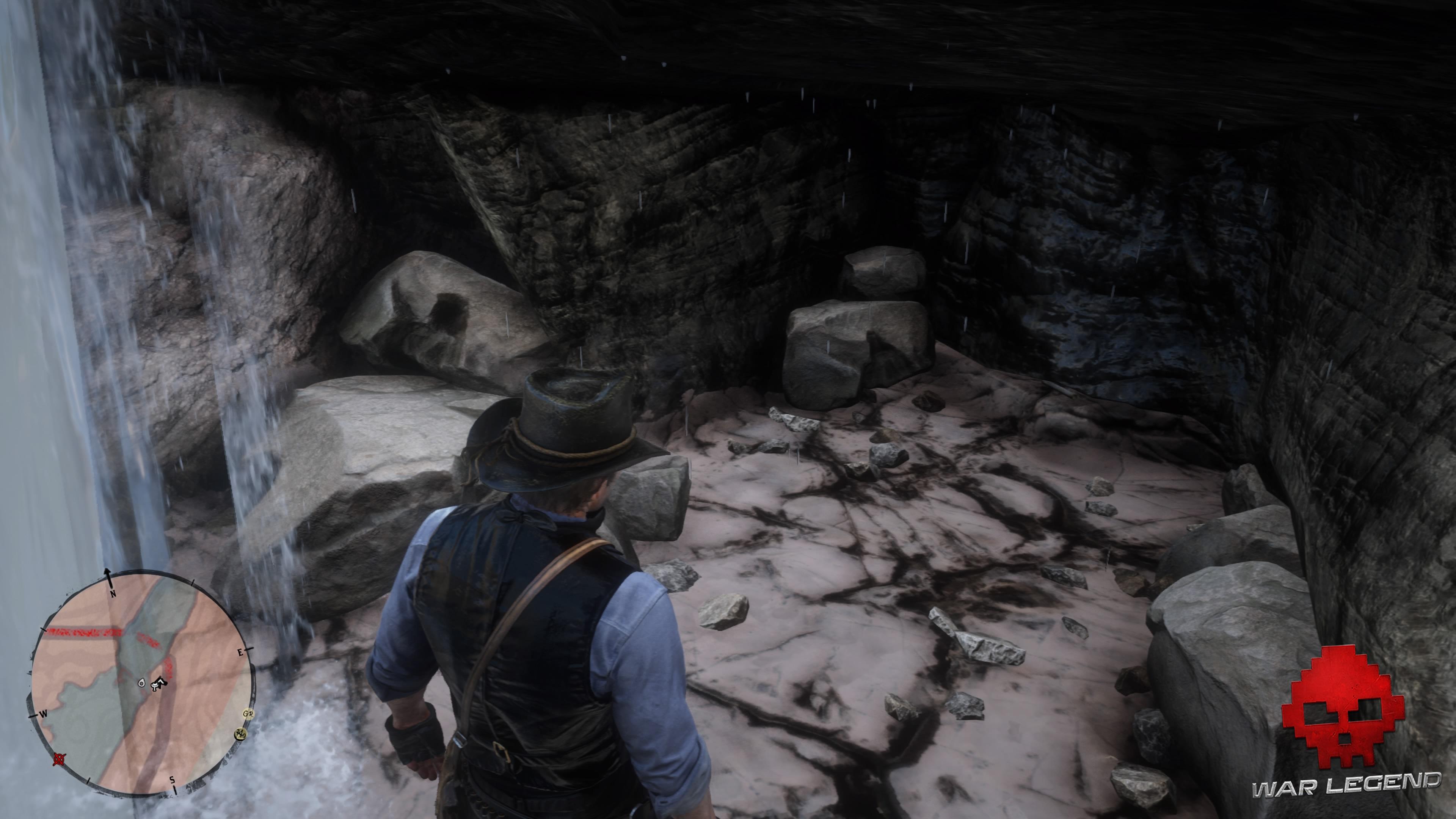 Soluce Red Dead Redemption 2 Le trésor à gros enjeux une cavité derrière une cascade d'eau