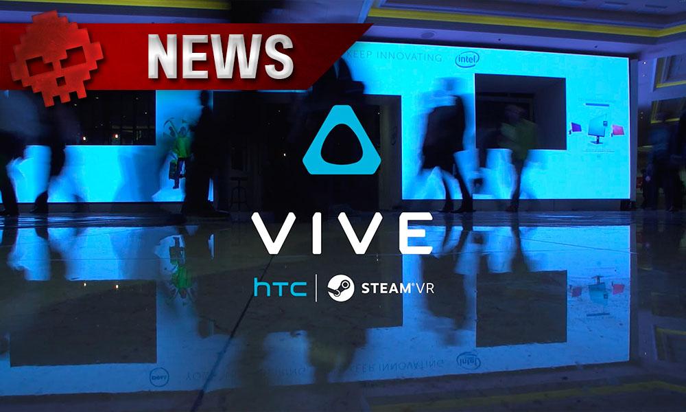CES - Le HTC Vive 2 ne sera pas présenté au CES 2017 Logo et gens qui marchent dans un salon en arrière plan
