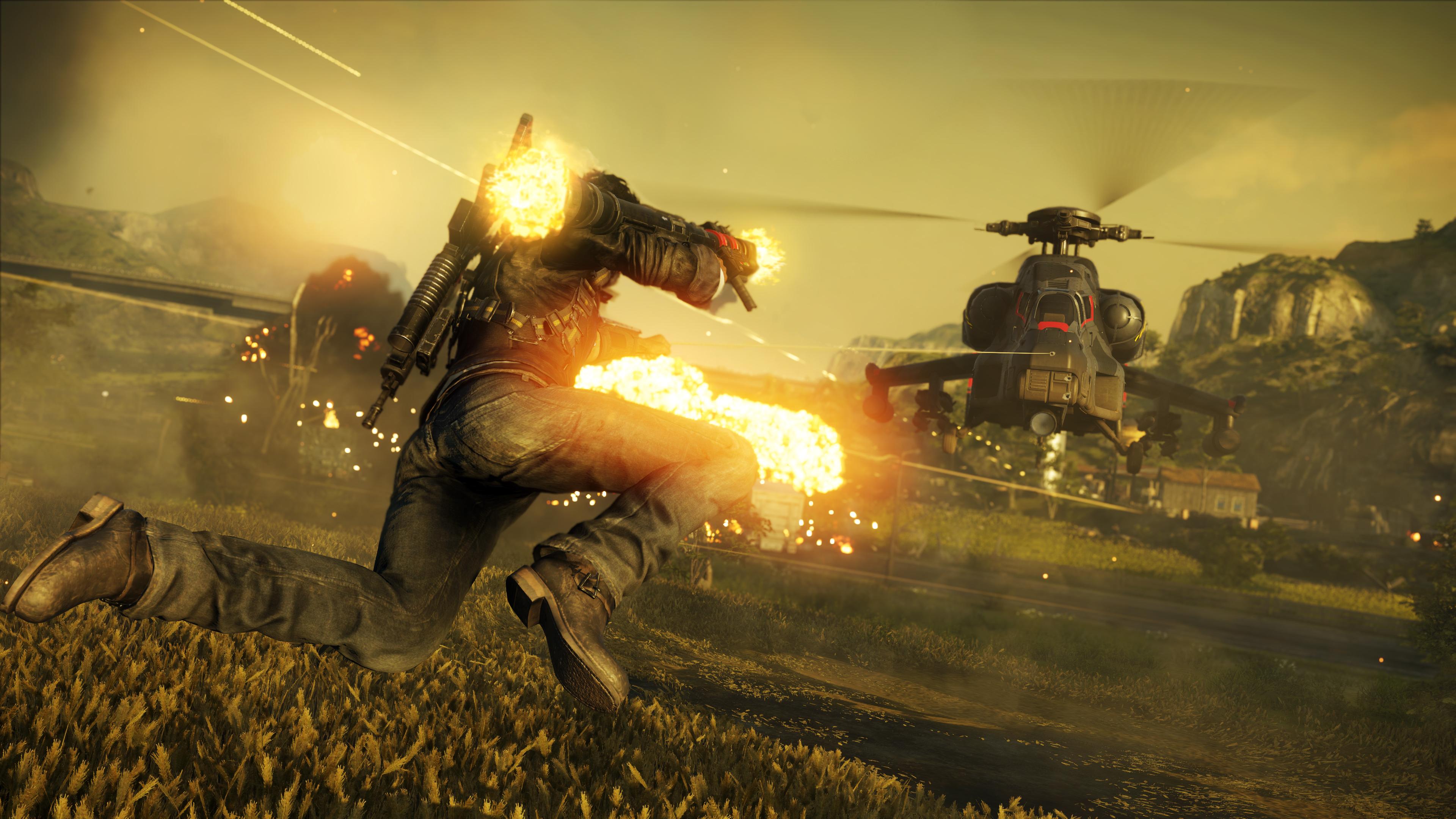 Aperçu Just Cause 4 Rico Rodriguez s'accroche à un hélicoptère