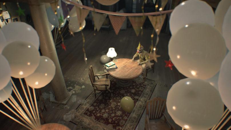 Resident Evil 7 - clown assis à une table