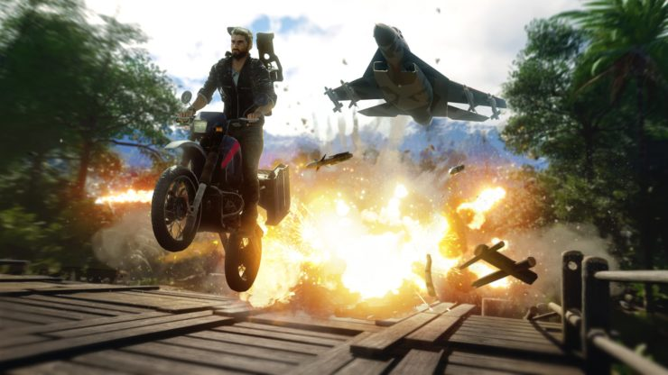 Just Cause 4 leak explosion, moto et avion