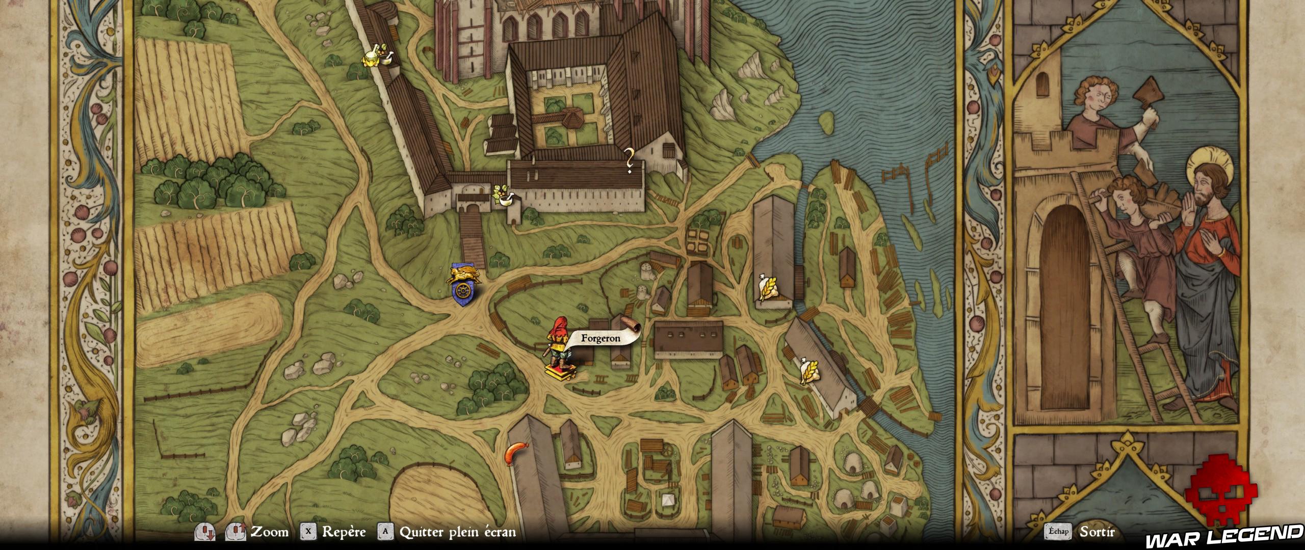 KCD Soluce Tout ce qui brille carte forgeron du monastère
