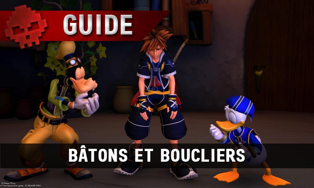 KH 3 - vignette guide armes bâtons et boucliers