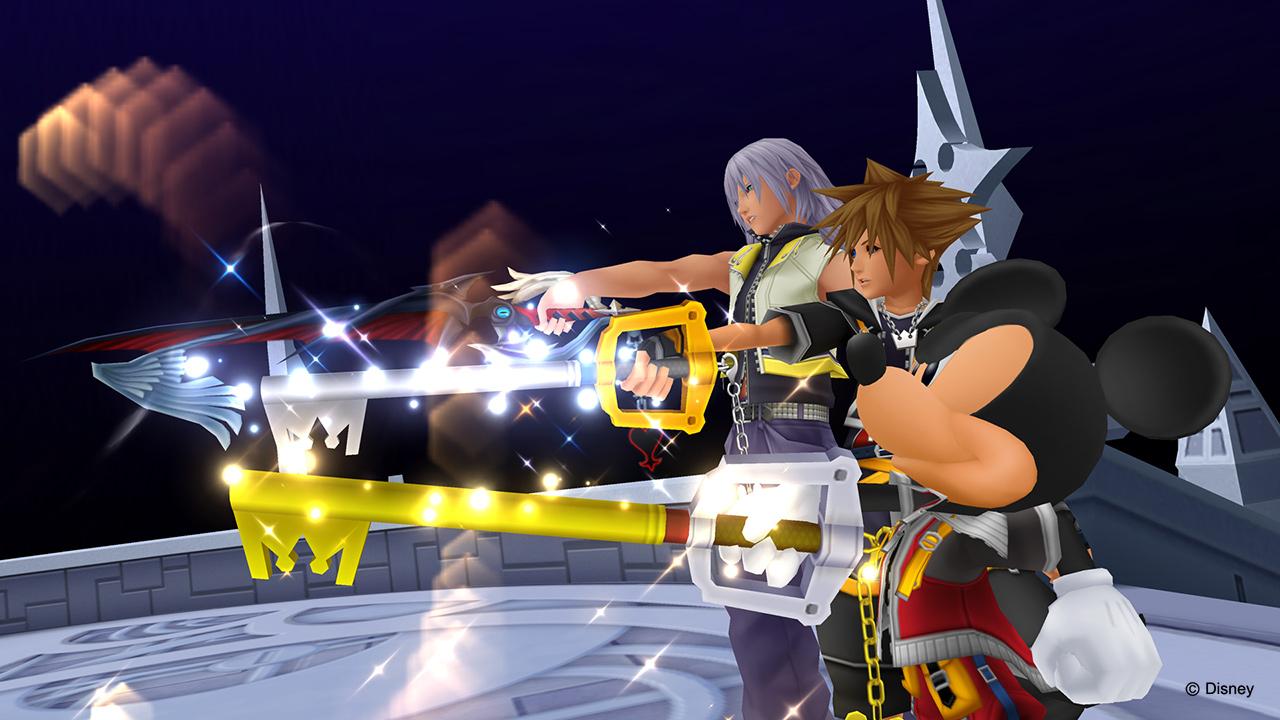 Riku, Mickey et Sora brandissant leur keyblade