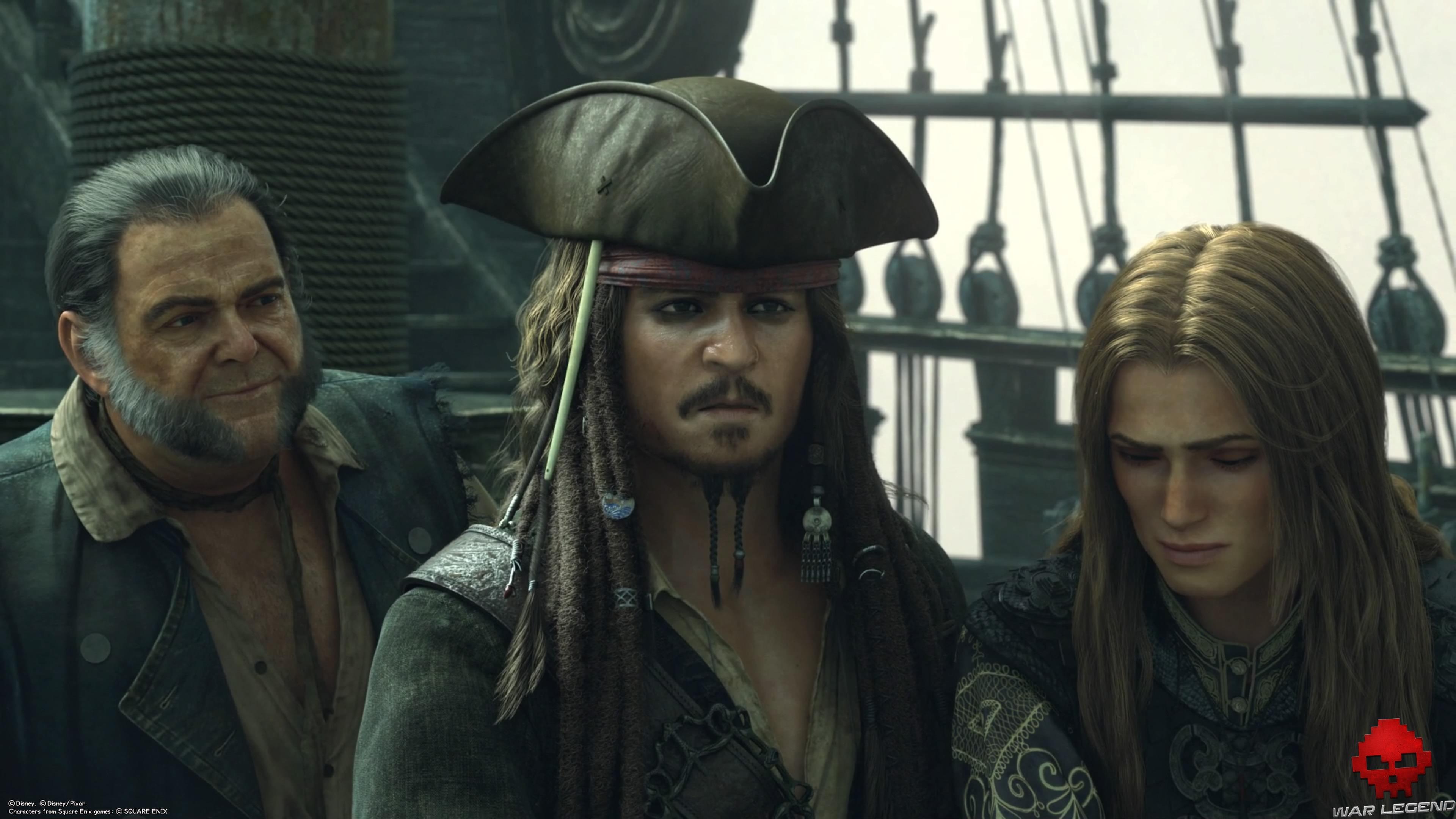Gibbs, Jack Sparrow et Elizabeth