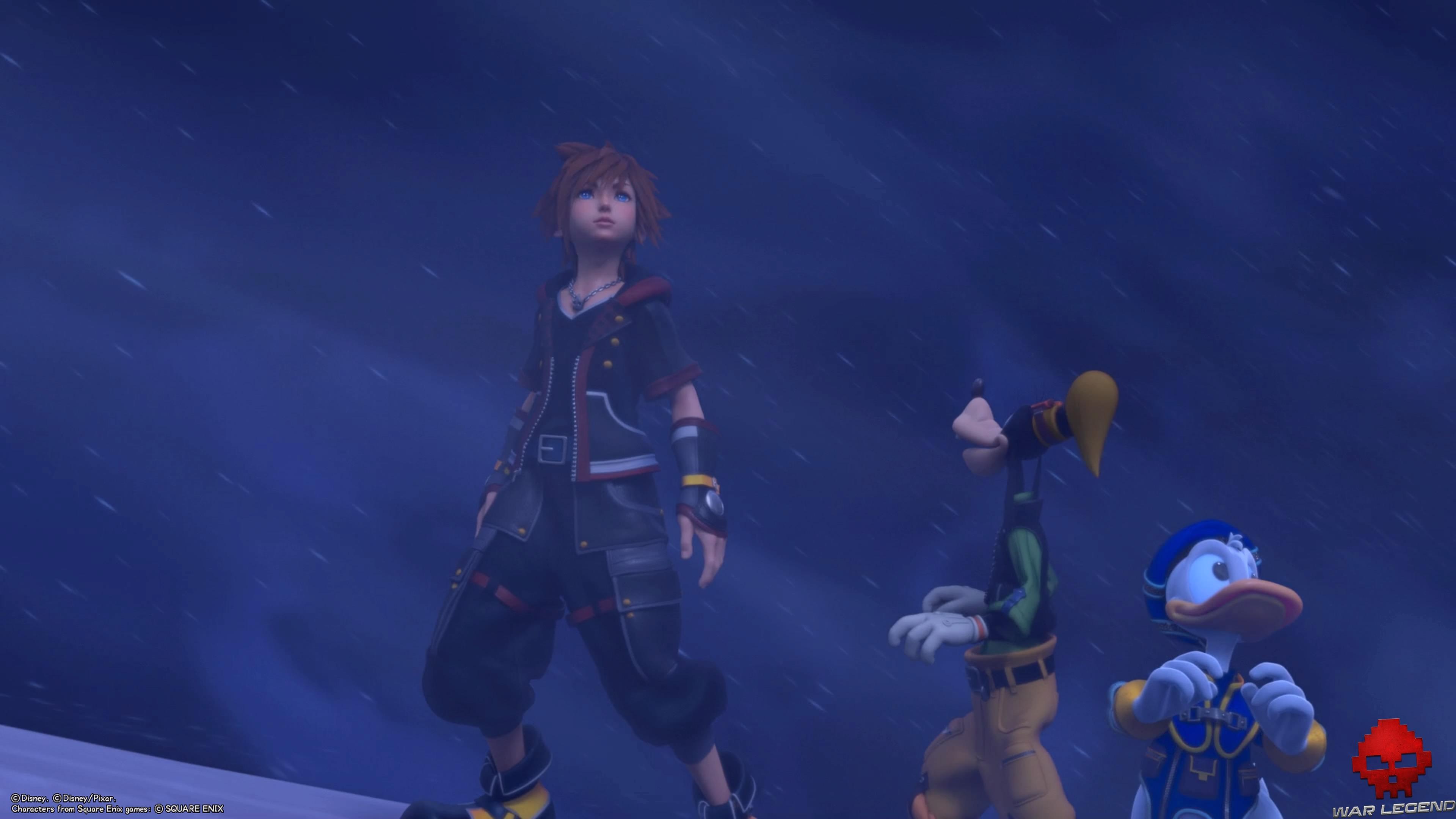 Sora, Donald et Dingo dans un blizzard
