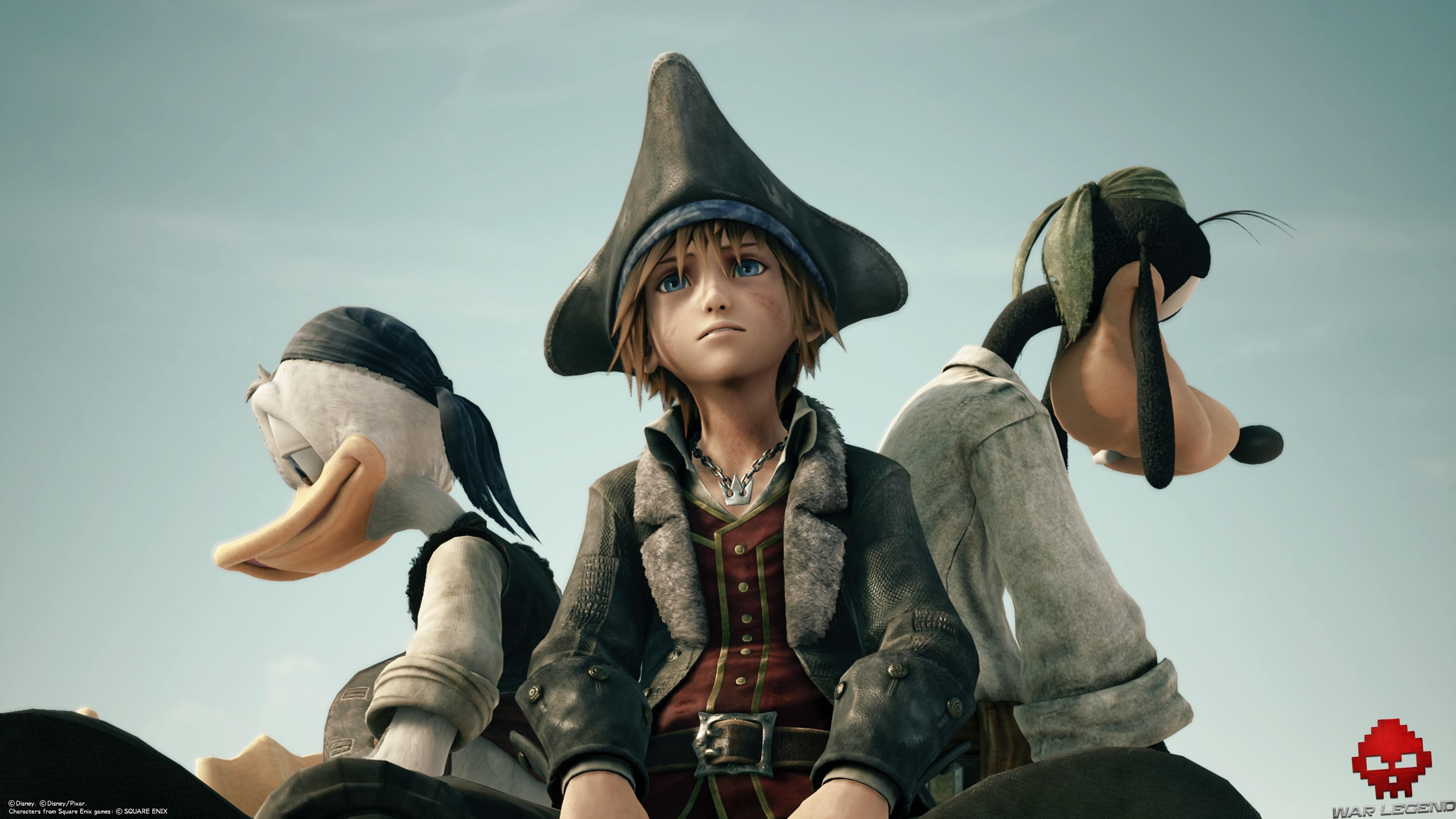 Sora, Donald et Dingo dans leur tenue de pirate